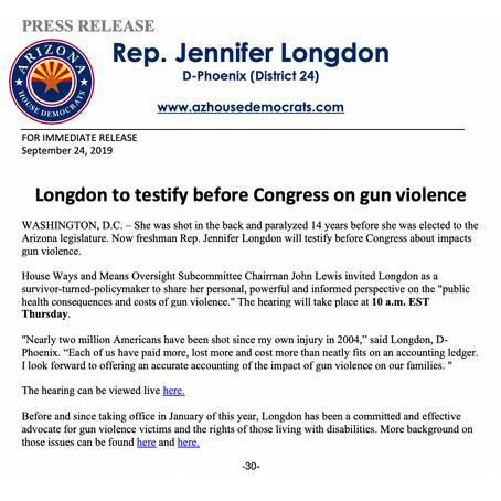 Longdon to testify before Congress on gun violence