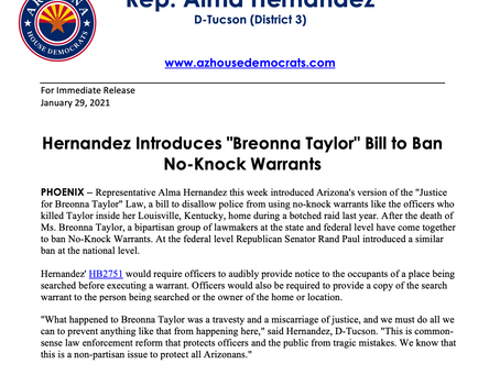 "PRESS RELEASE: Hernandez Introduces ""Breonna Taylor"" Bill to Ban No-Knock Warrants"