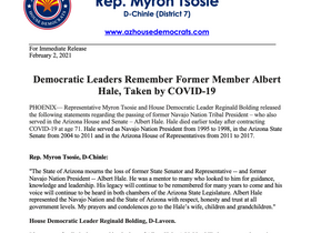PRESS RELEASE: Democratic Leaders Remember Former Member Albert Hale, Taken by COVID-19