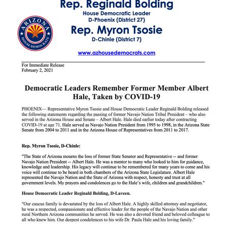 PRESS RELEASE: Democratic Leaders Remember Former Member Albert Hale, Taken by COVID-19