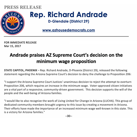 Andrade praises AZ Supreme Court's decision on the minimum wage proposition