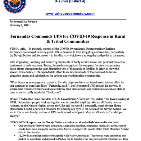 PRESS RELEASE: Fernandez Commends UPS for COVID-19 Response in Rural & Tribal Communities