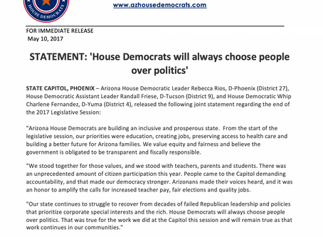 'House Democrats will always choose people over politics'