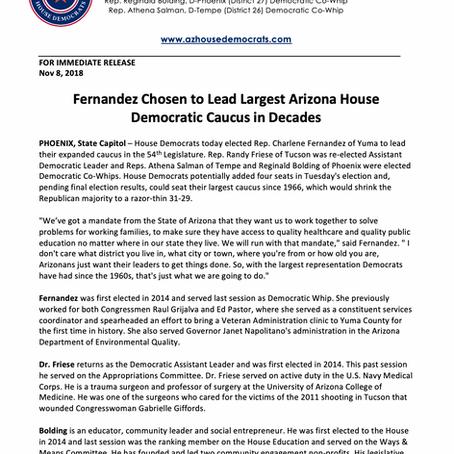 Fernandez Chosen to Lead Largest Arizona House Democratic Caucus in Decades