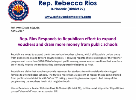 Rep. Rios responds to Republican effort to expand vouchers and drain money from schools