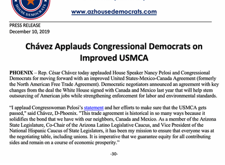 PRESS RELEASE: Chávez Applauds Congressional Democrats on Improved USMCA