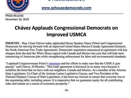PRESS RELEASE: Chávez Applauds Congressional Democrats on Improved USMCA