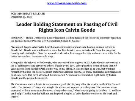 PRESS RELEASE: Leader Bolding Statement on Passing of Civil Rights Icon Calvin Goode