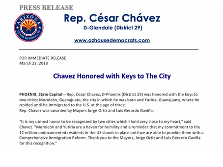Chavez Honored with Keys to the City