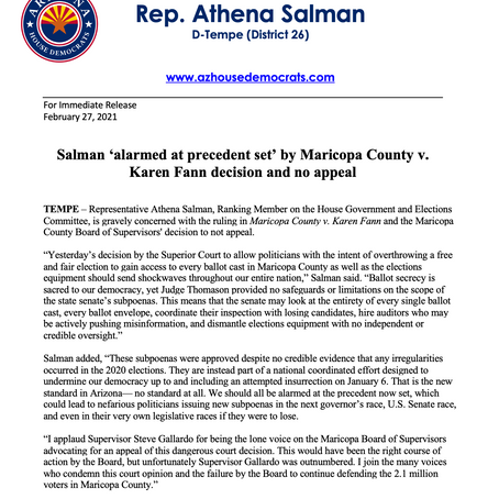 PRESS RELEASE: Salman 'alarmed at precedent set' by Maricopa County v. Fann decision and no appeal