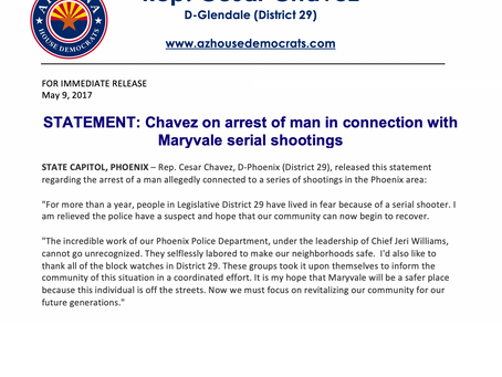 Chávez on arrest of man in connection with Maryvale serial shootings