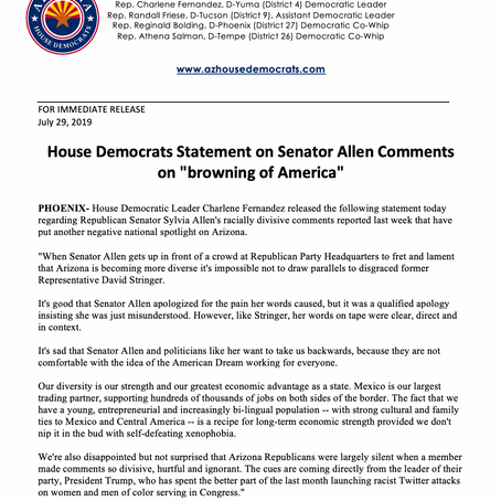 """House Democrats Statement on Senator Allen Comments on """"browning of America"""""""