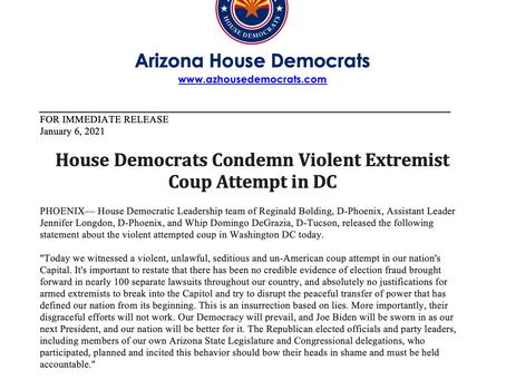 PRESS RELEASE: House Democrats Condemn Violent Extremist Coup Attempt in DC