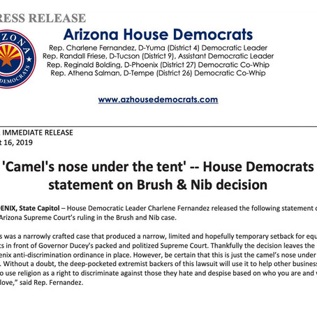 'Camel's nose under the tent' -- House Democrats statement on Brush & Nib decision