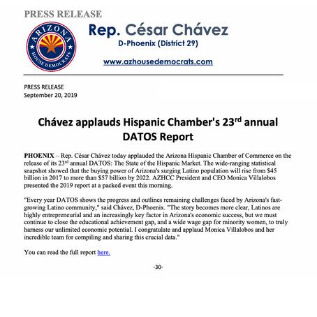 Chávez applauds Hispanic Chamber's 23rd annual DATOS report
