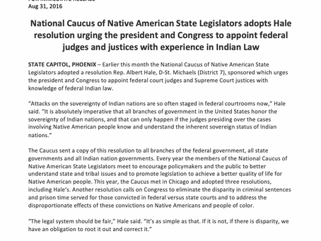 National Caucus of Native American State Legislators adopts Hale resolution