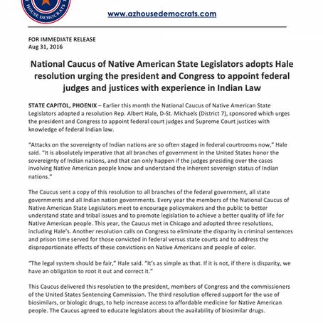 National Caucus of Native American State Legislators adopts Hale resolution