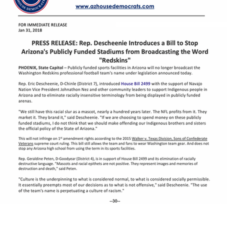 """Rep. Descheenie Introduces a Bill to Stop Arizona's Publicly Funding Stadiums from saying """"Redskins"""""""