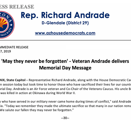 'May they never be forgotten' - Veteran Andrade delivers Memorial Day Message