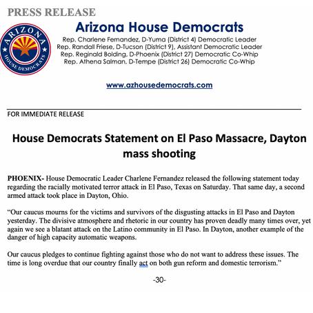 House Democrats Statement on El Paso Massacre, Dayton mass shooting