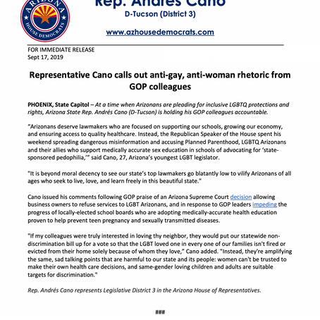 Rep. Cano calls out anti-gay, anti-woman rhetoric from GOP colleagues