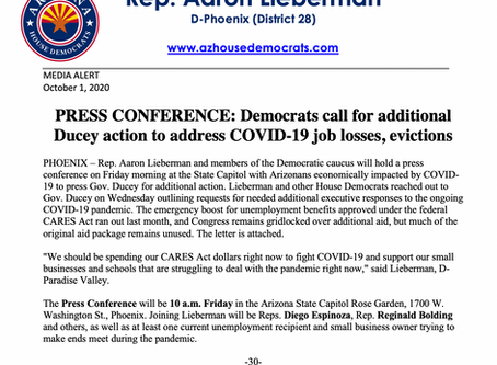 PRESS CONFERENCE: Democrats call for additional Ducey action to address COVID-19 job losses