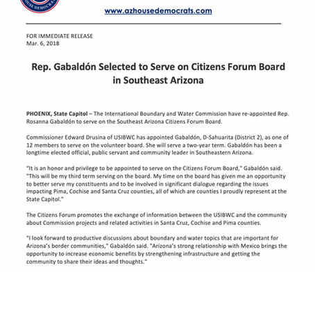 Rep. Gabaldón Selected to Serve on Citizens Forum Board in Southeast Arizona