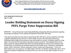 PRESS RELEASE: Leader Bolding Statement on Ducey Signing PEVL Purge Voter Suppression Bill