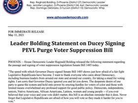 PRESS RELEASE: Leader Bolding Statement on Ducey Signing PEVL Purge Voter Suppression Bill
