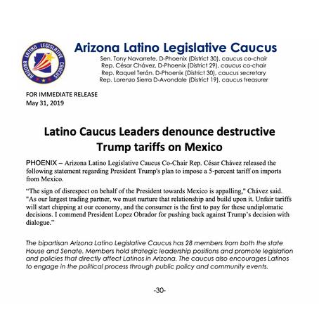 Latino Caucus Leaders denounce destructive Trump tariffs on Mexico