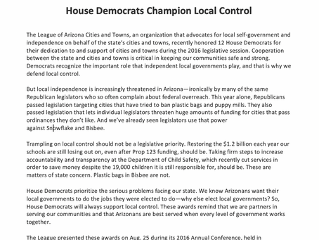 House Democrats Champion Local Control