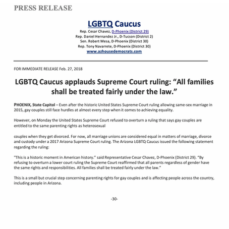 """LGBT Caucus applauds SCOTUS ruling: """"All families shall be treated fairly under the law."""""""