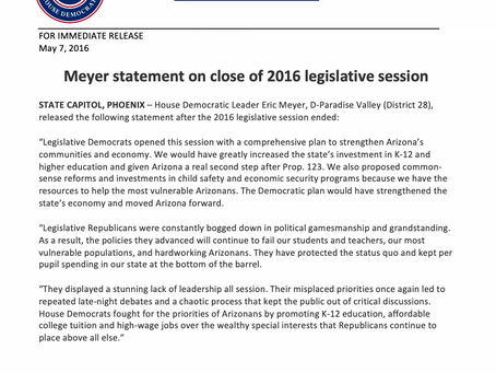 Meyer statement on close of 2016 legislative session