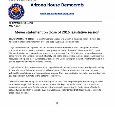 Meyer statement on close of 2016 legislative session