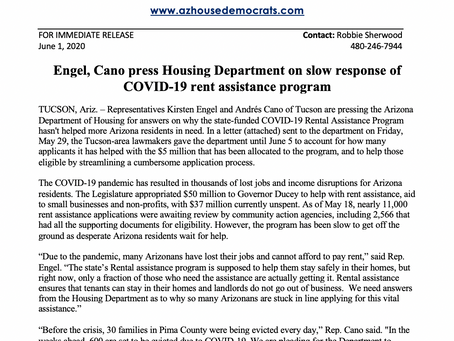 PRESS RELEASE: Engel, Cano press Housing Department on slow response of COVID-19 rent assistance
