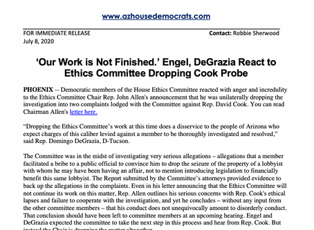 PRESS RELEASE: 'Our Work is Not Finished.' Engel, DeGrazia React to Ethics Comm Dropping Cook Probe
