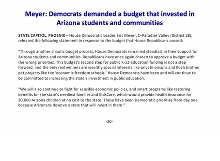 Meyer: Democrats demanded a budget that invested in Arizona students and communities