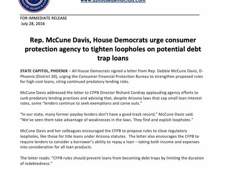 McCune Davis, House Democrats urge consumer protection agency to tighten loopholes