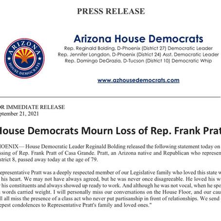 House Democrats Mourn Loss of Rep. Frank Pratt