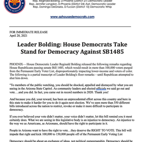 PRESS RELEASE: Leader Bolding: House Democrats Take Stand for Democracy Against SB1485