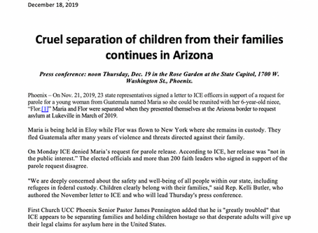 PRESS RELEASE: Cruel separation of children from their families continues in Arizona