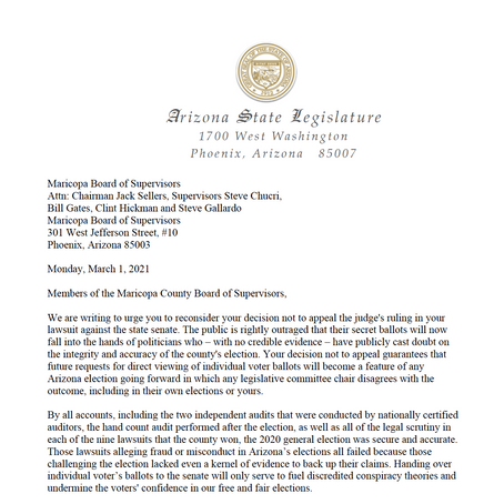 LETTER: to Maricopa County Board of Supervisors regarding lawsuit against State Senate