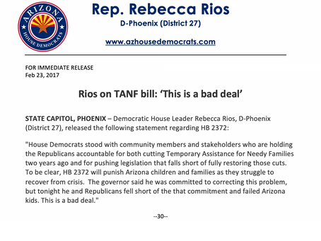 Rios on TANF bill: 'This is a bad deal'