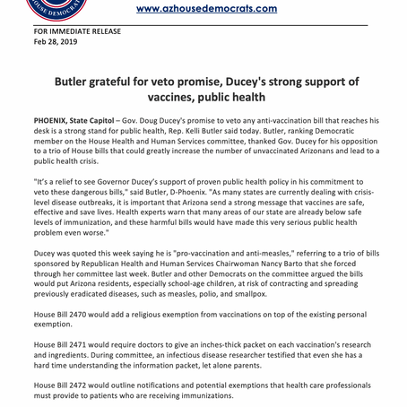 Rep. Kelli Butler: Grateful for veto promise