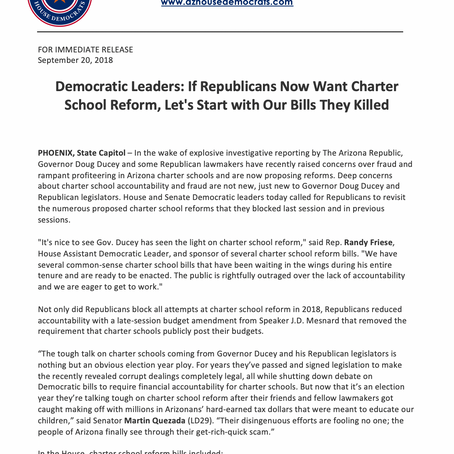 Dem Leaders: If GOP now want Charter School Reform, let's start with our bills they killed