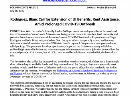 PRESS RELEASE: Rodriguez, Blanc Call for Extension of UI Benefits, Rent Assistance Amid COVID-19