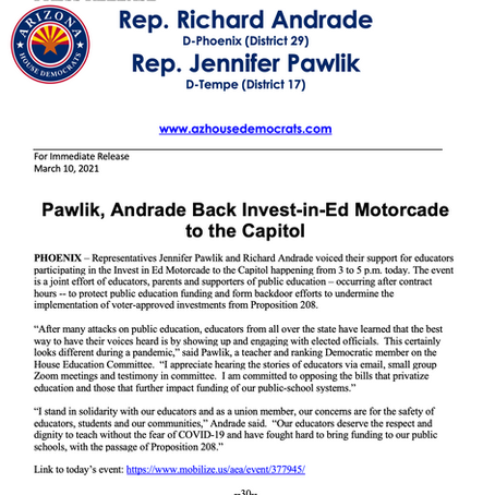PRESS RELEASE: Pawlik, Andrade Back Invest-in-Ed Motorcade to the Capitol