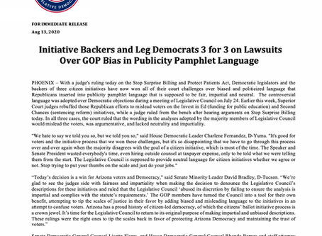 Initiative Backers and Leg Dems 3 for 3 on Lawsuits Over GOP Bias in Publicity Pamphlet Language