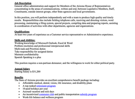 AZ House of Representatives hiring for Administrative Assistant - Apply now! NO DEADLINE