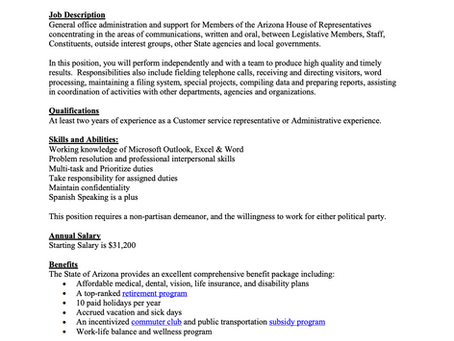 AZ House of Representatives hiring for Administrative Assistant - Apply now! NO DEADLINE